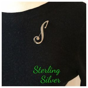 "Vintage Sterling Silver ""S"" Pin"